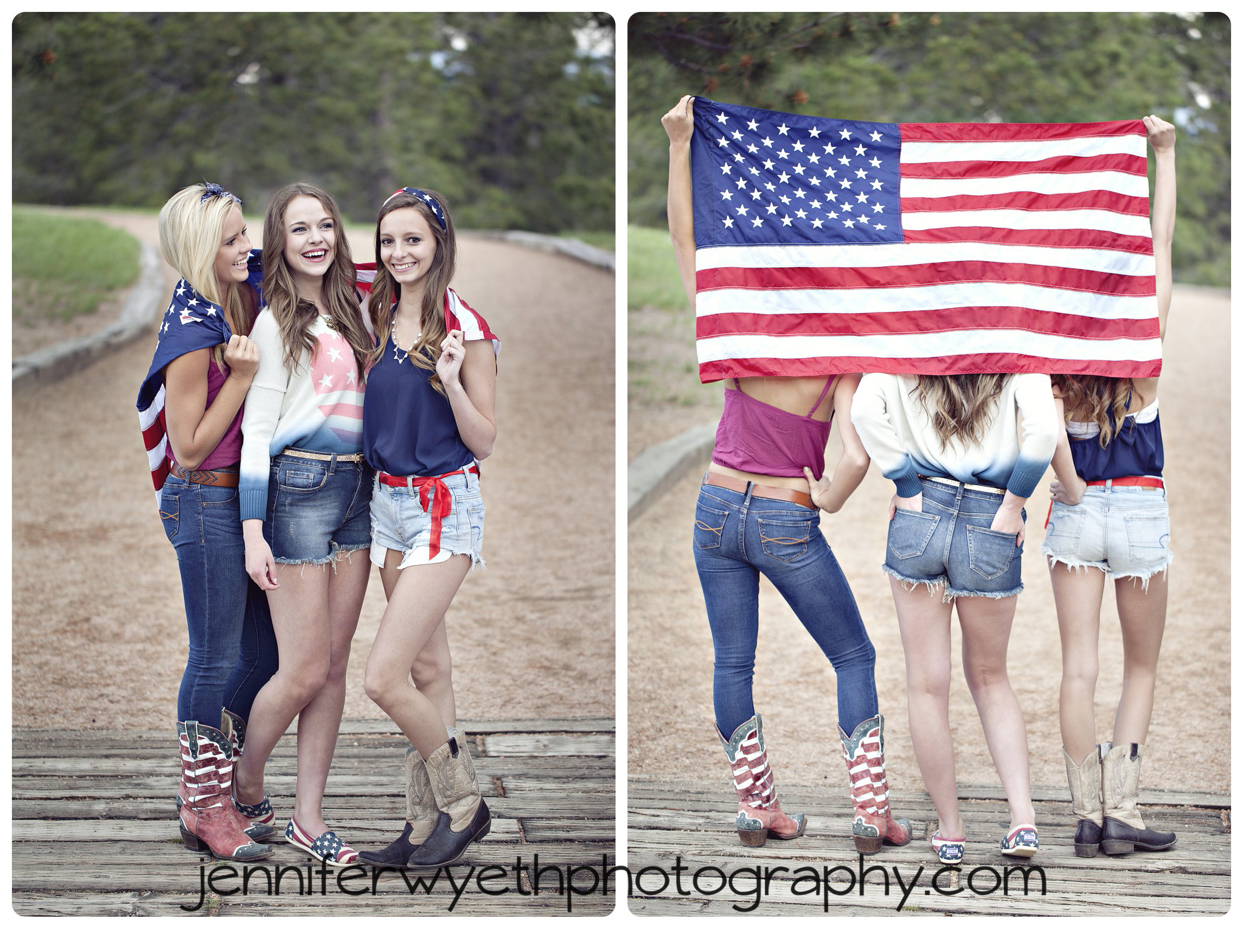 three sheer captains pose with American flag while laughing on small bridge in forest