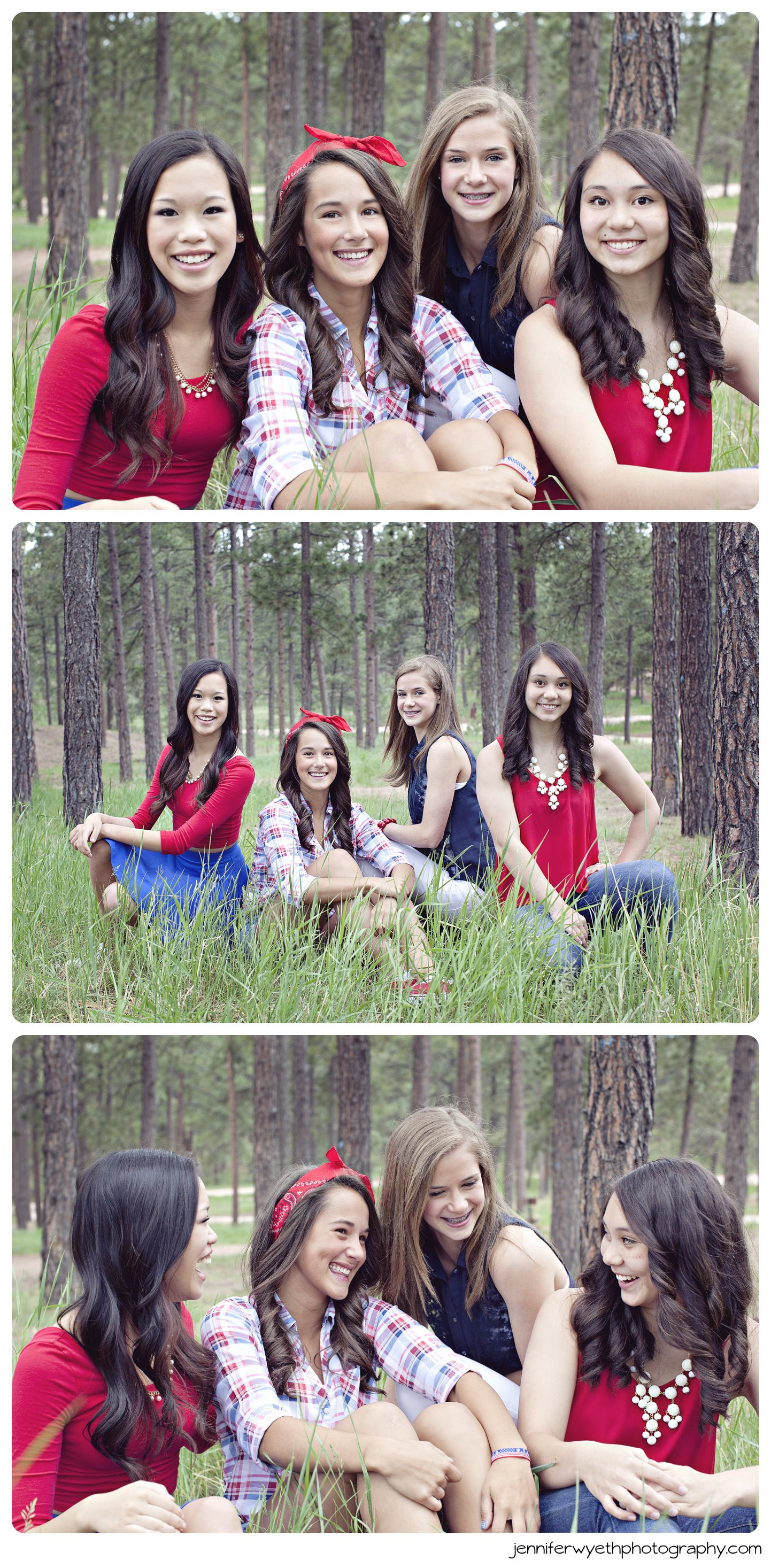 juniors pose together laugh in tall green grass