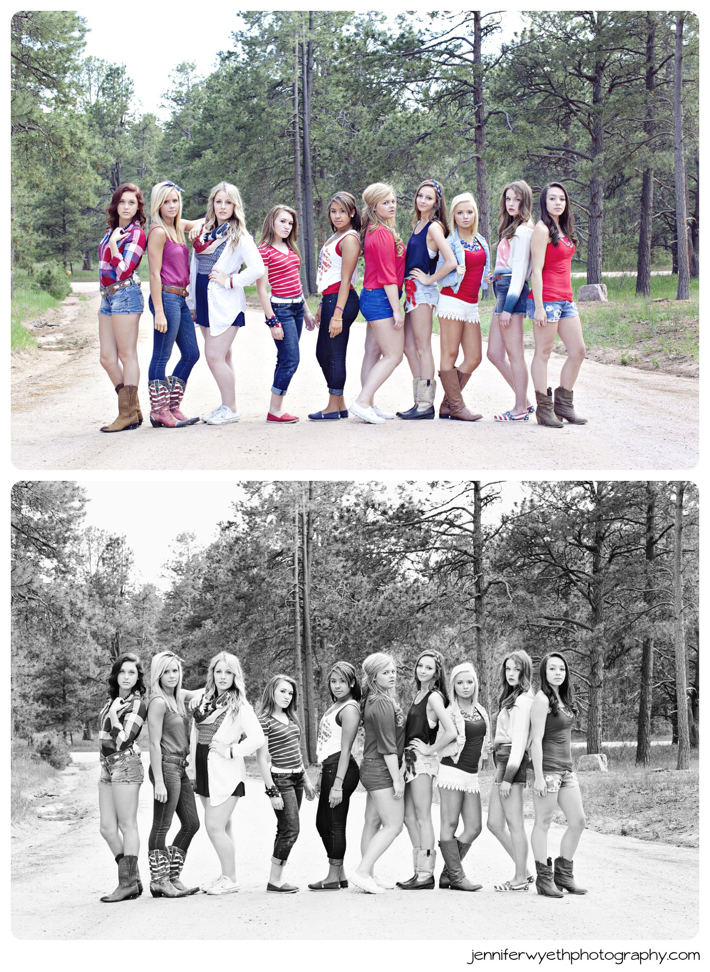 cheerleaders pose on dirt road with friends in forest