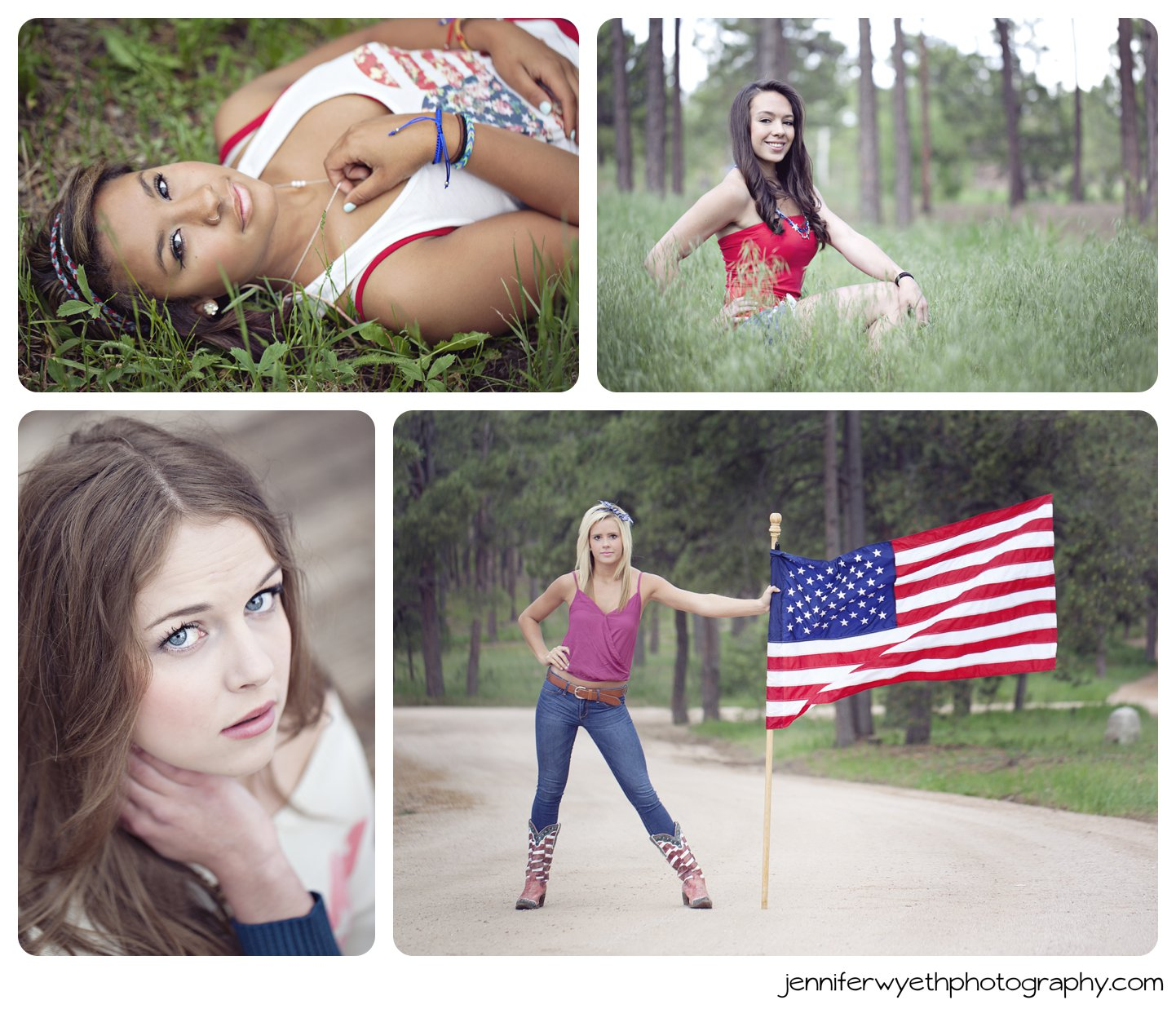 four girls pose in Americana clothing using USA flag as accessory