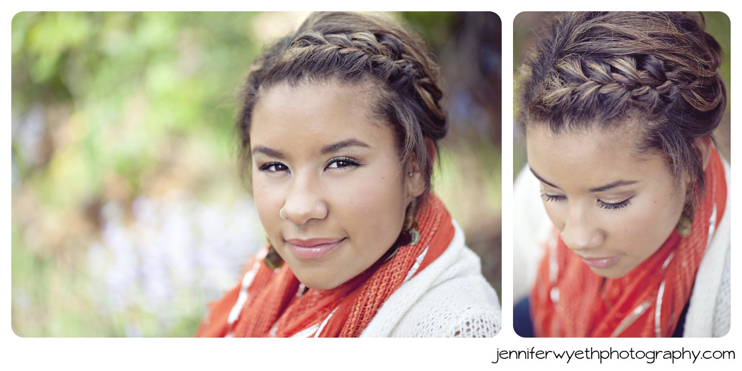 orange scarf and braided hair complete a look