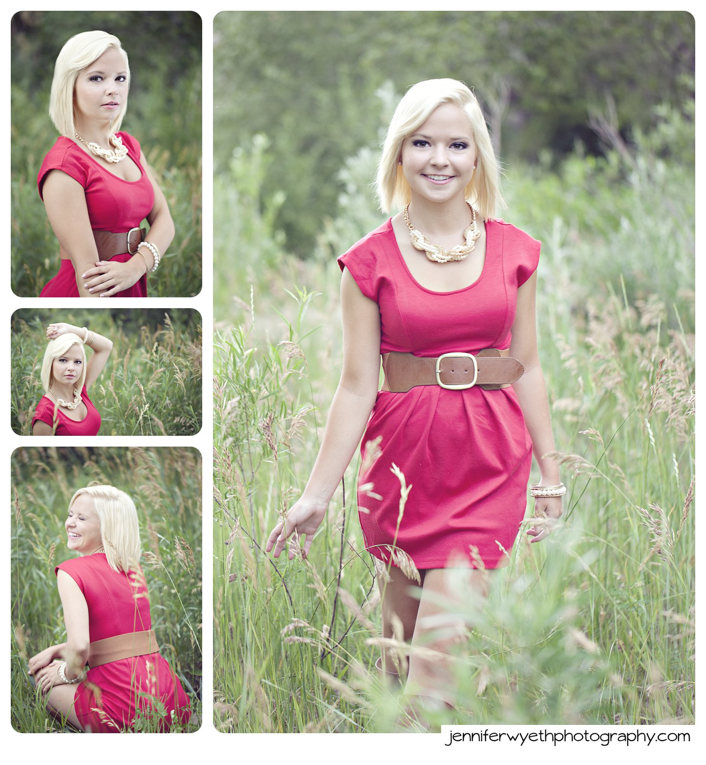 blond teenager poses and laughs in red dress in tall grass