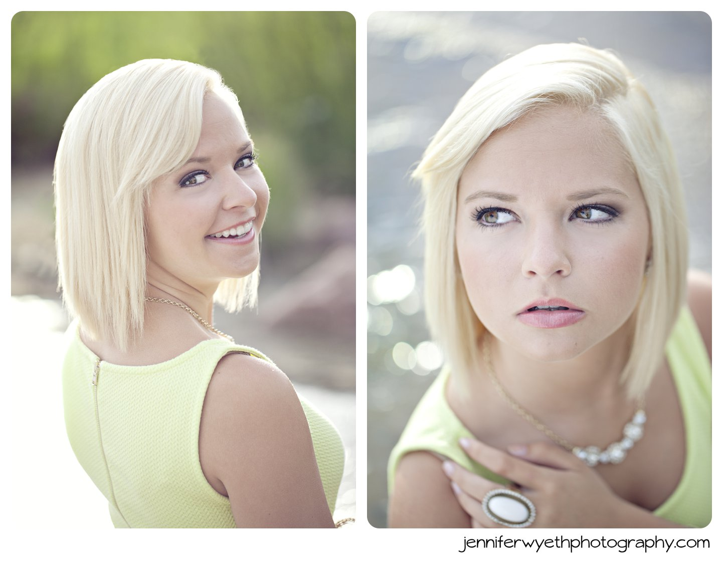 head shots in green tank with blond hair