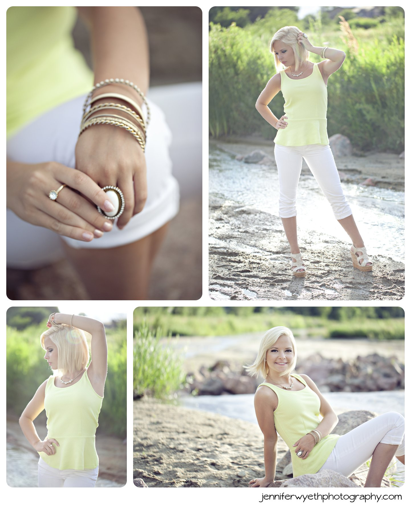 water green tank top and accessories completes pictures of beautiful teen girl