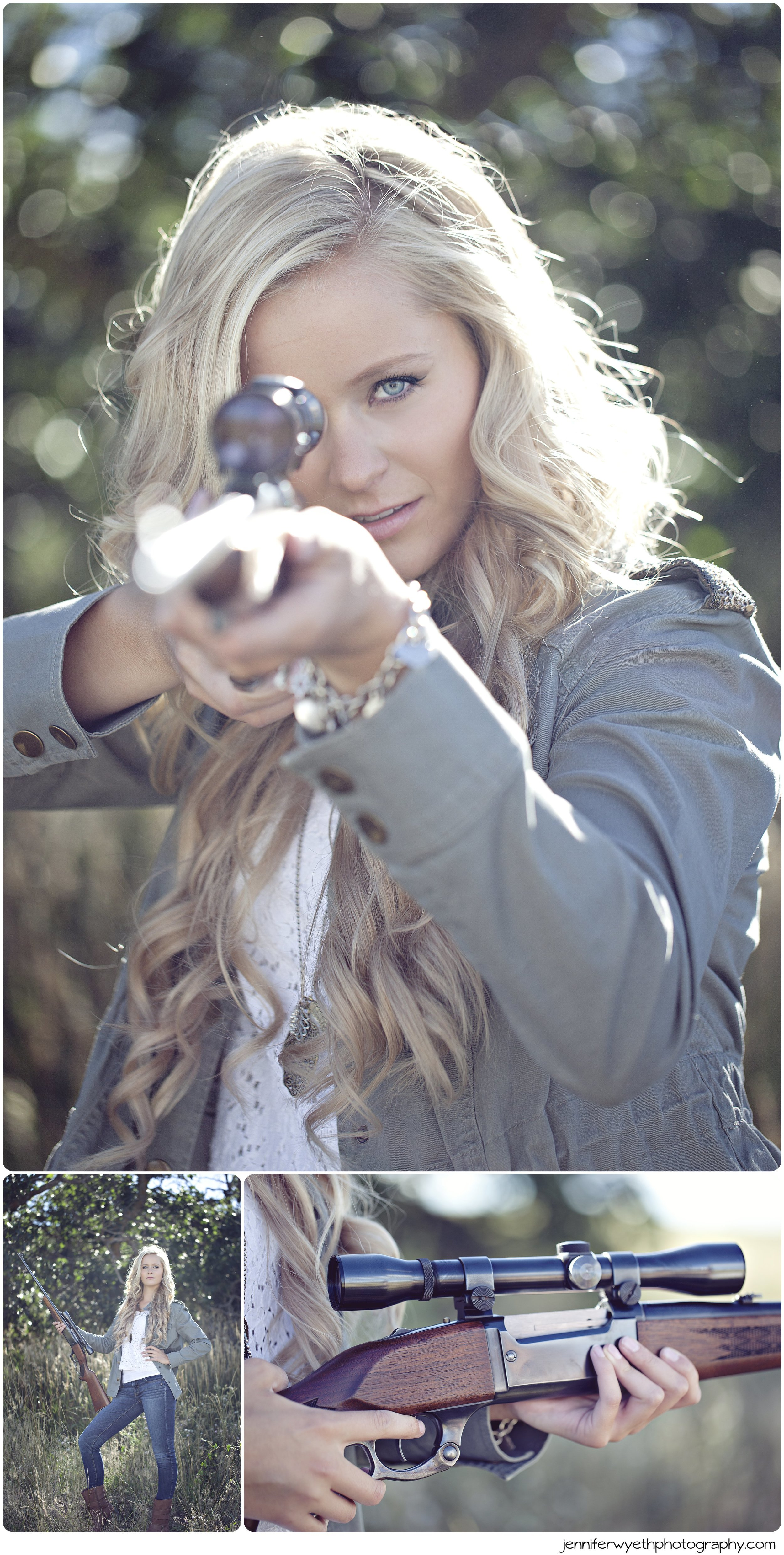 beautiful blond girl posing for picture with a gun