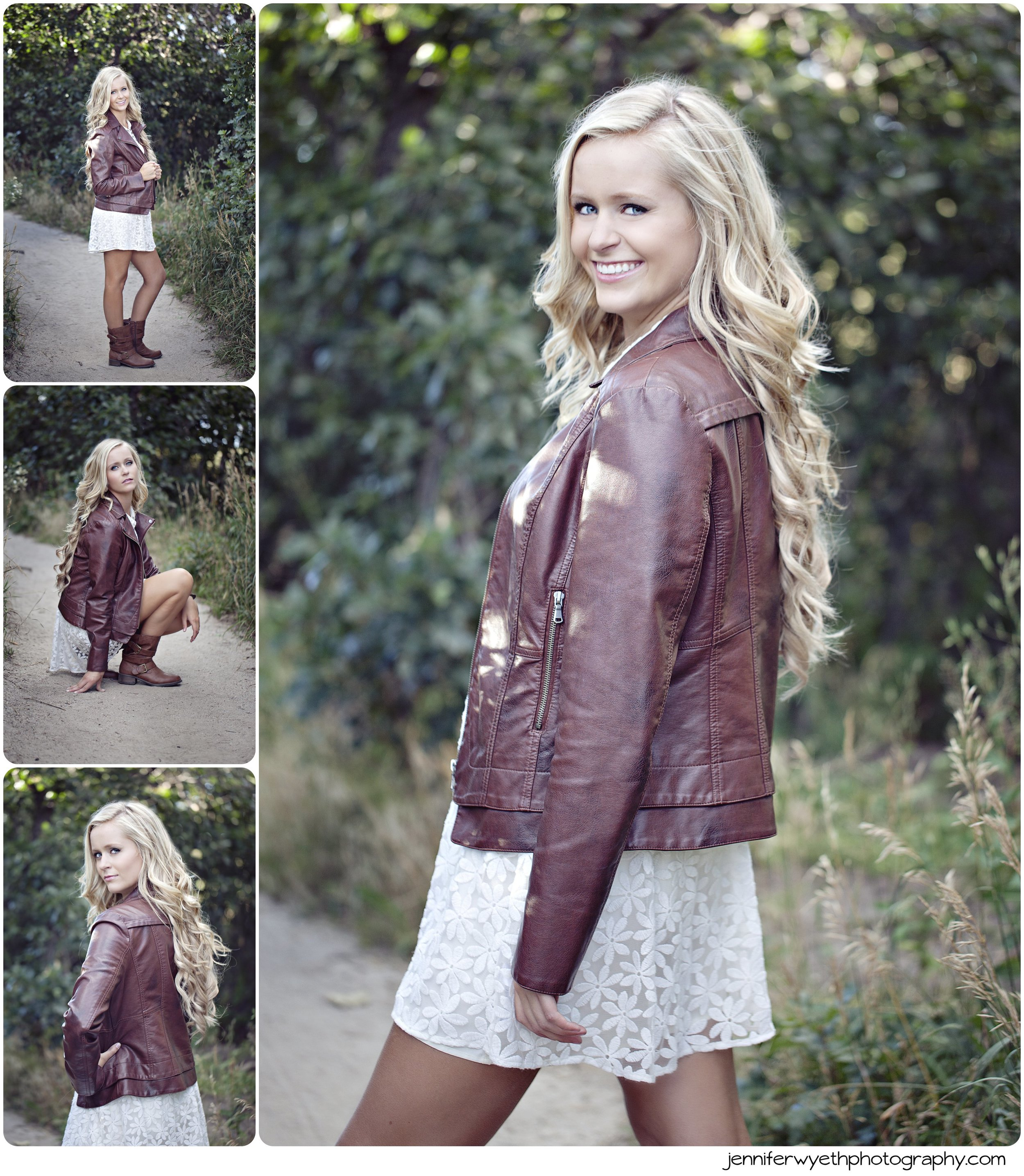 brown leather jacket accents white lace dress in senior pictures
