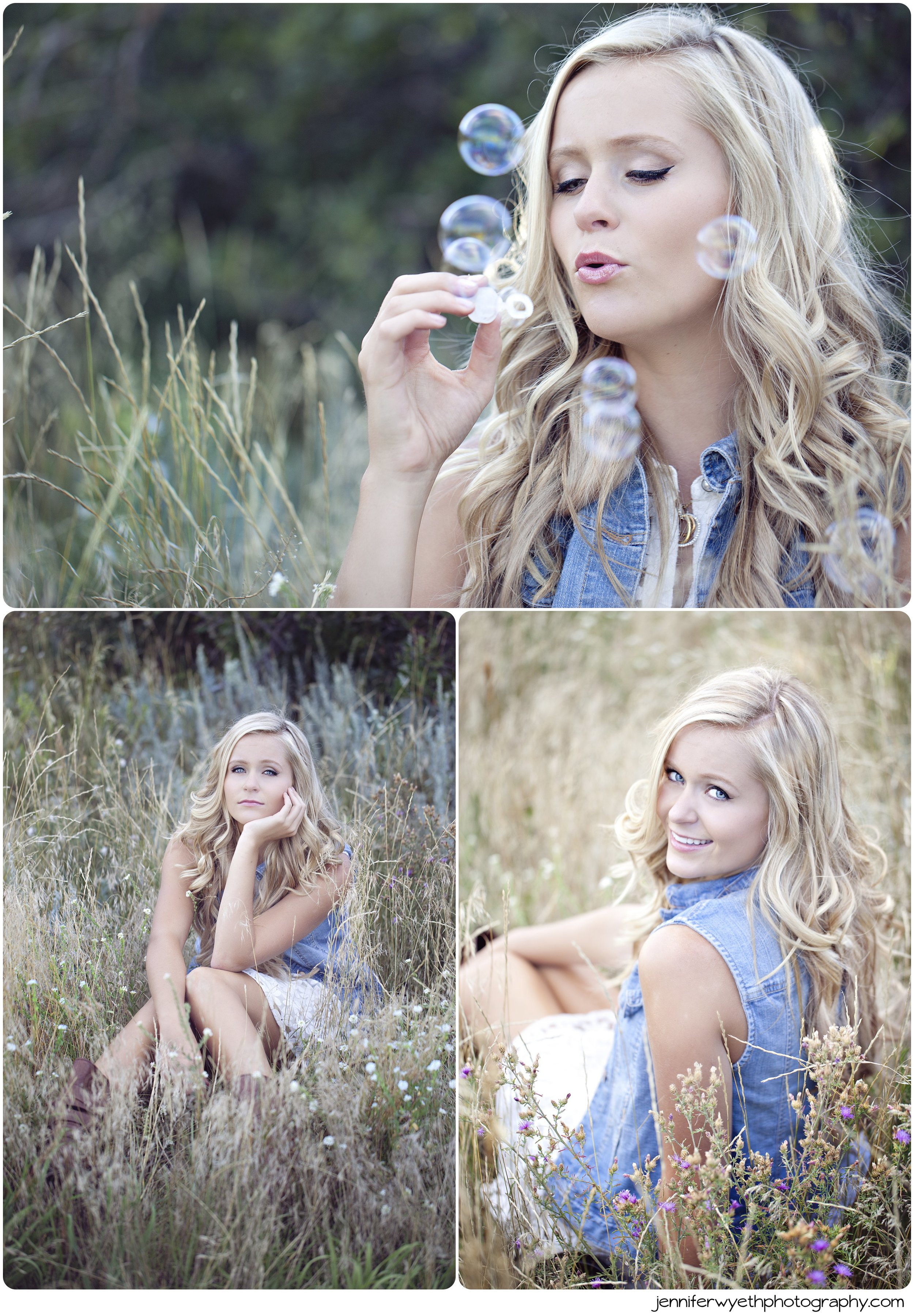 bubbles and field for senior session