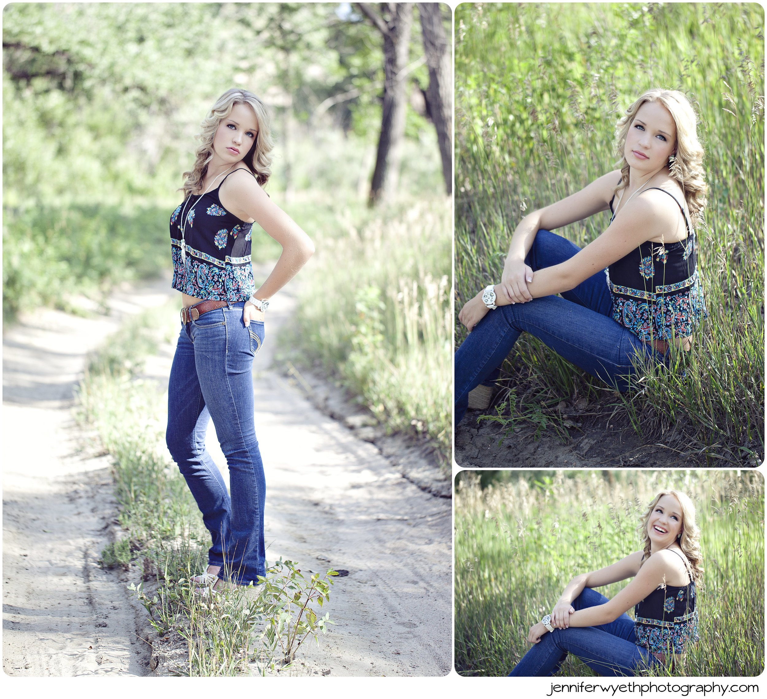 different poses in tall grass and on a dirt road
