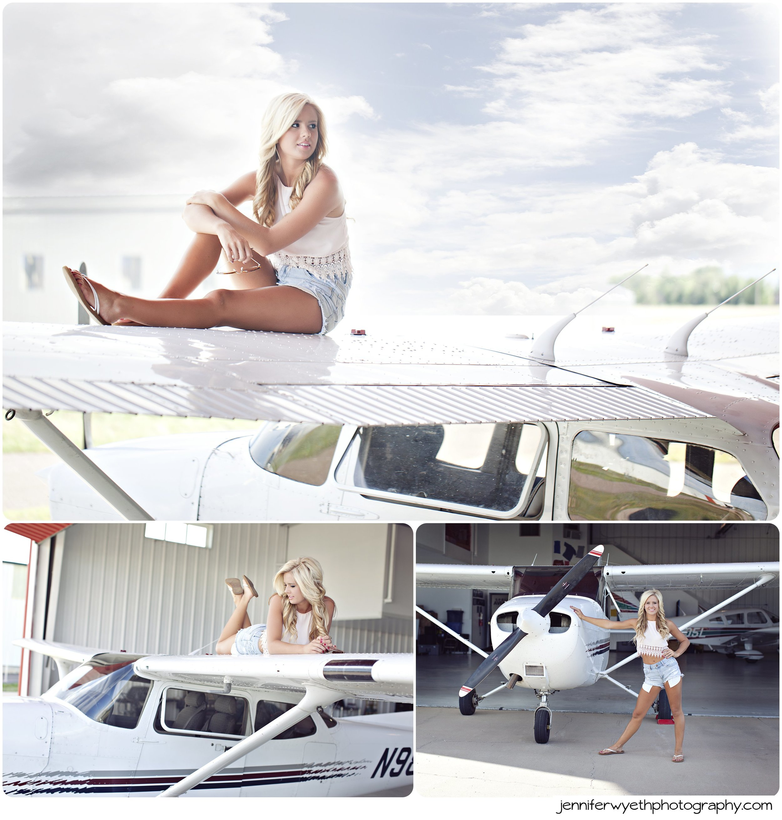 senior girl posing on an airplane wing in airport hanger