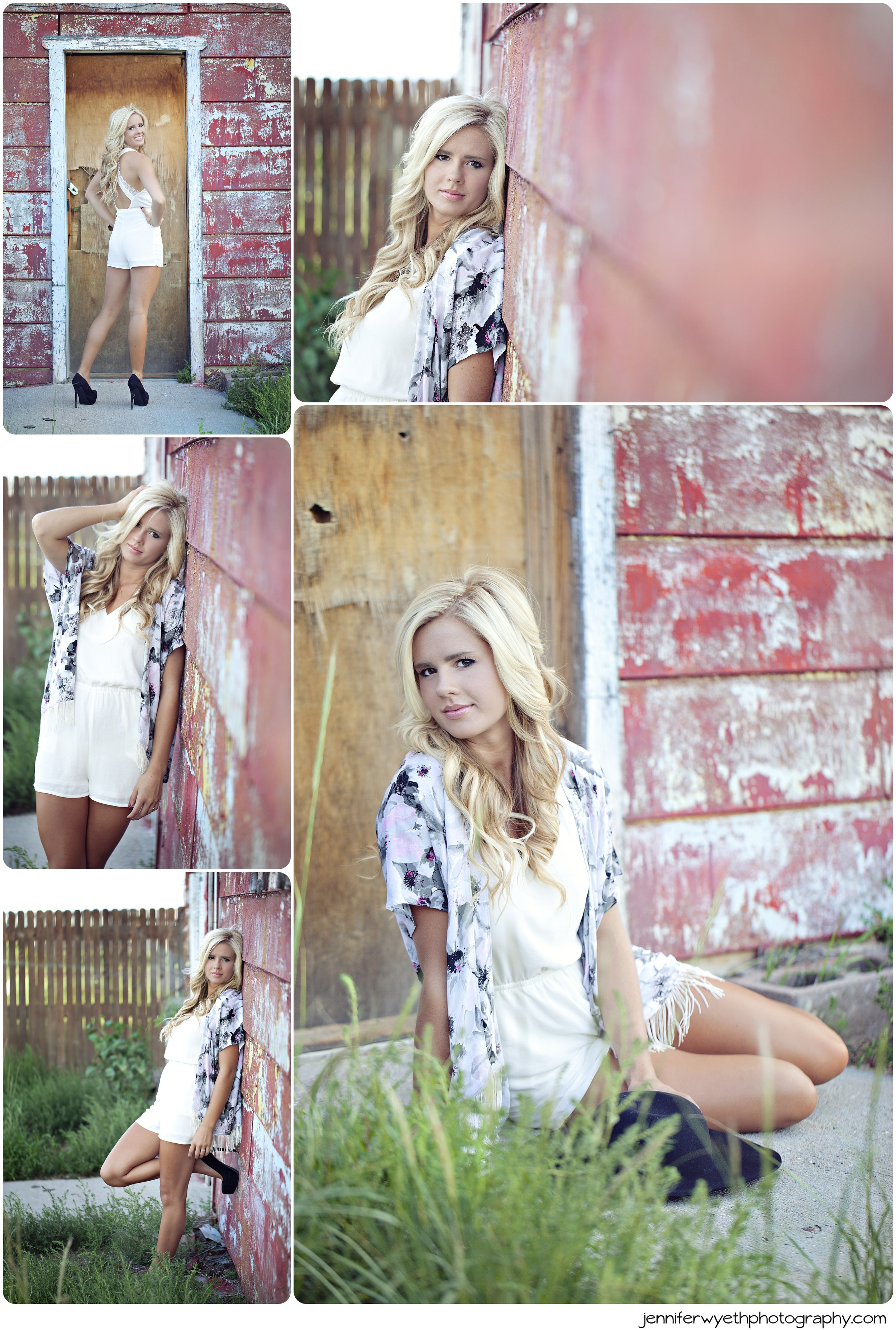 white romper and a rustic barn surround this jaw dropping woman