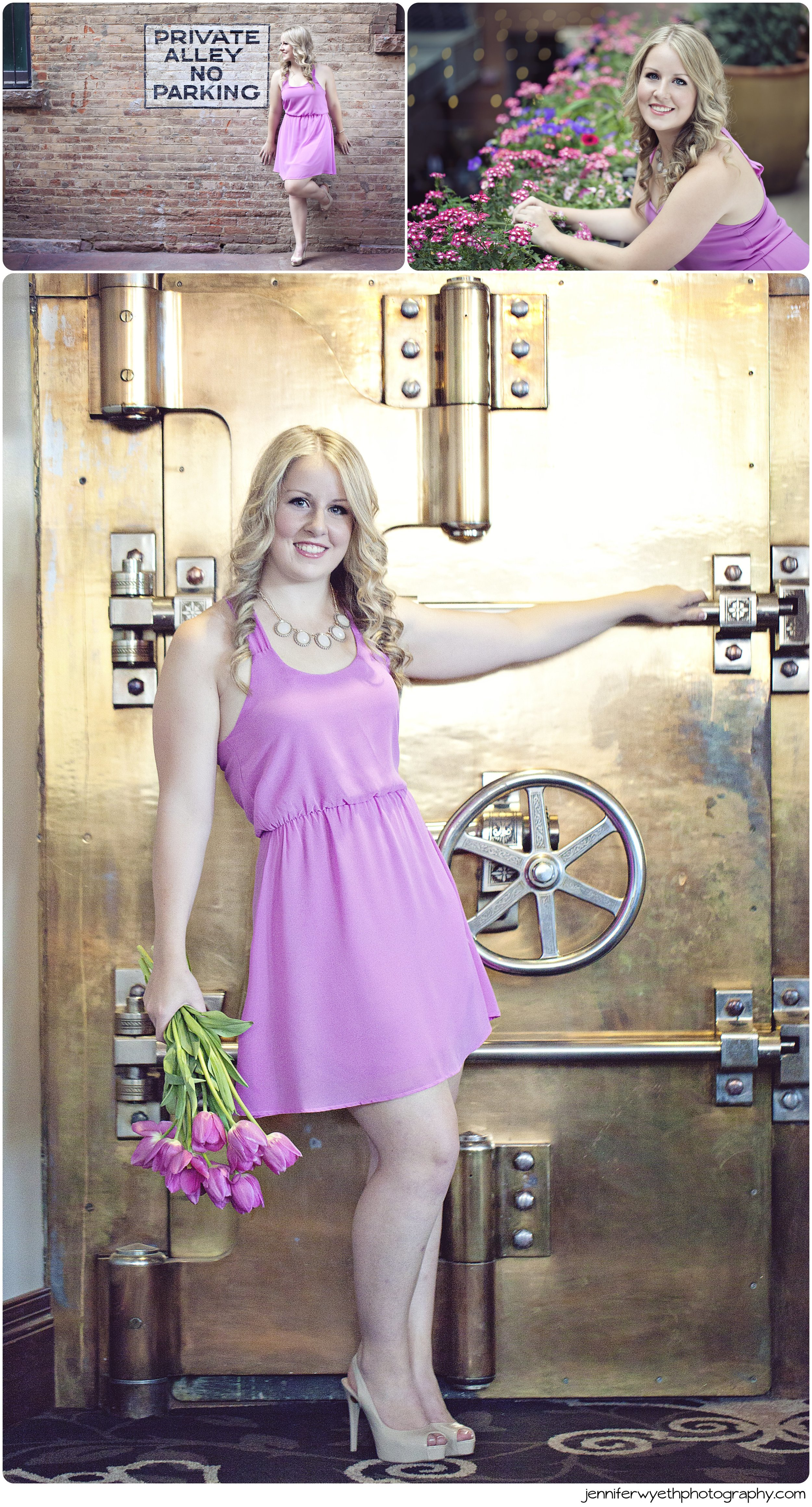 gold hotel safe serves as railing for blond girl in purple dress with flowers