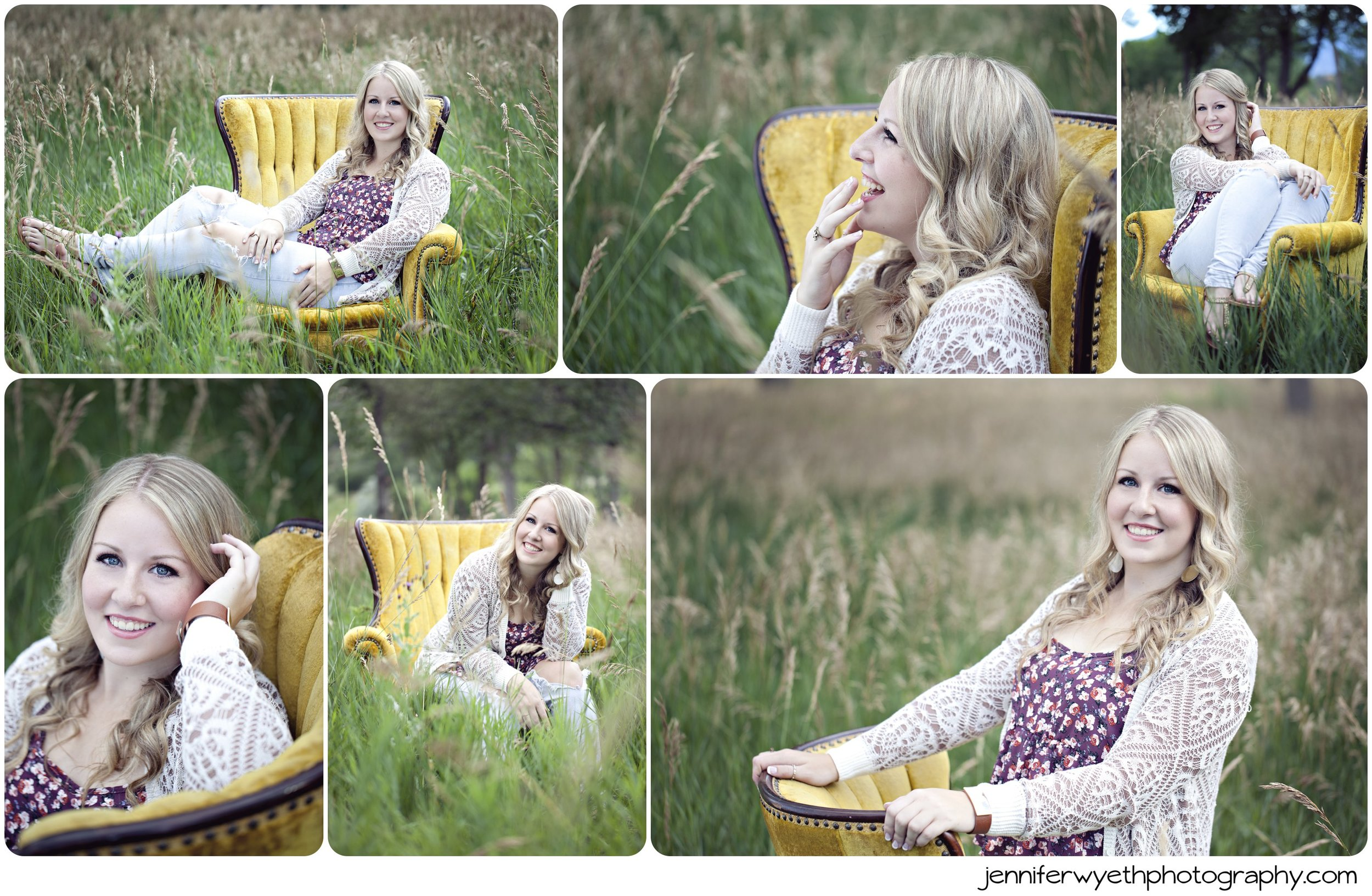blond senior in sweater plays around on yellow winged back chair in field