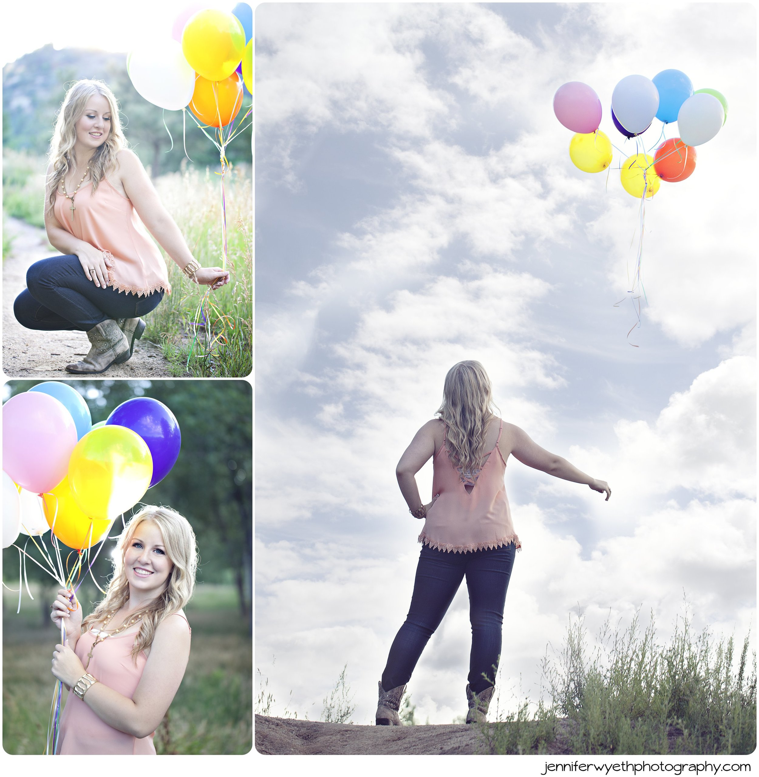 colorful balloons play a role in senior pictures as girl lets them fly away