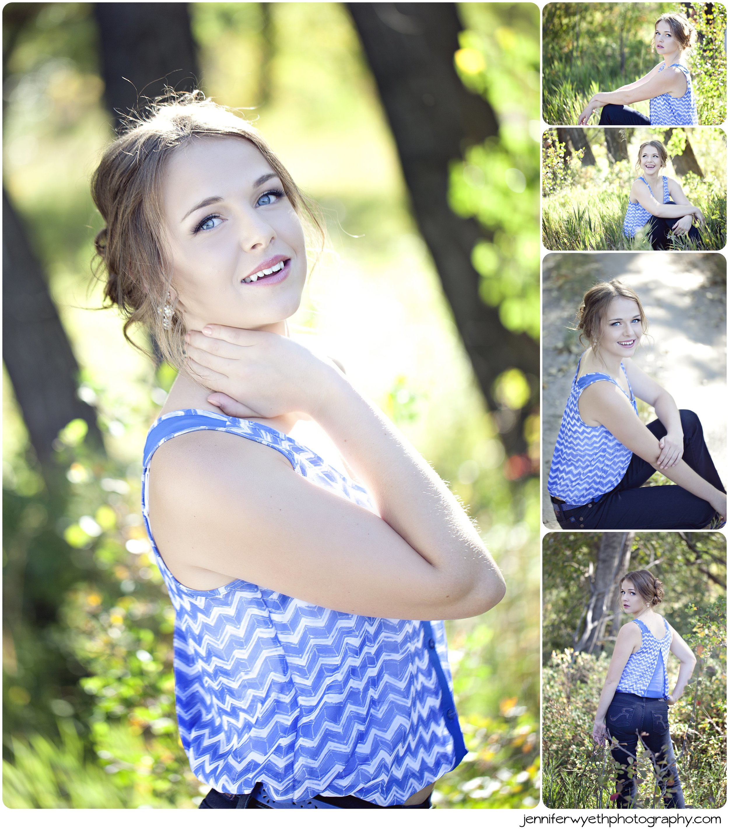 blue chevron blouse accents a pretty girls blue eyes
