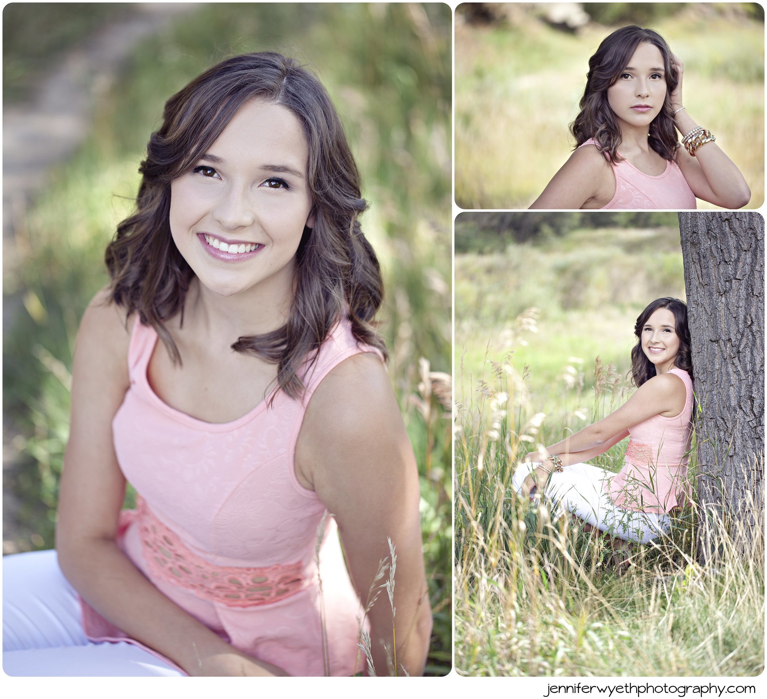 lace coral top worn by brunette for senior pictures in field