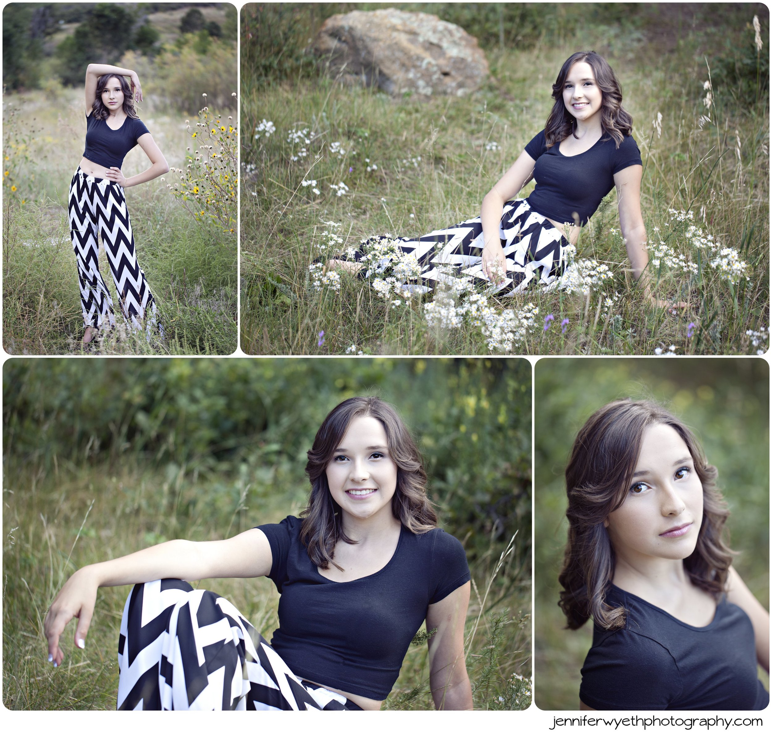 black and white chevron pants contrast the natural setting of picture
