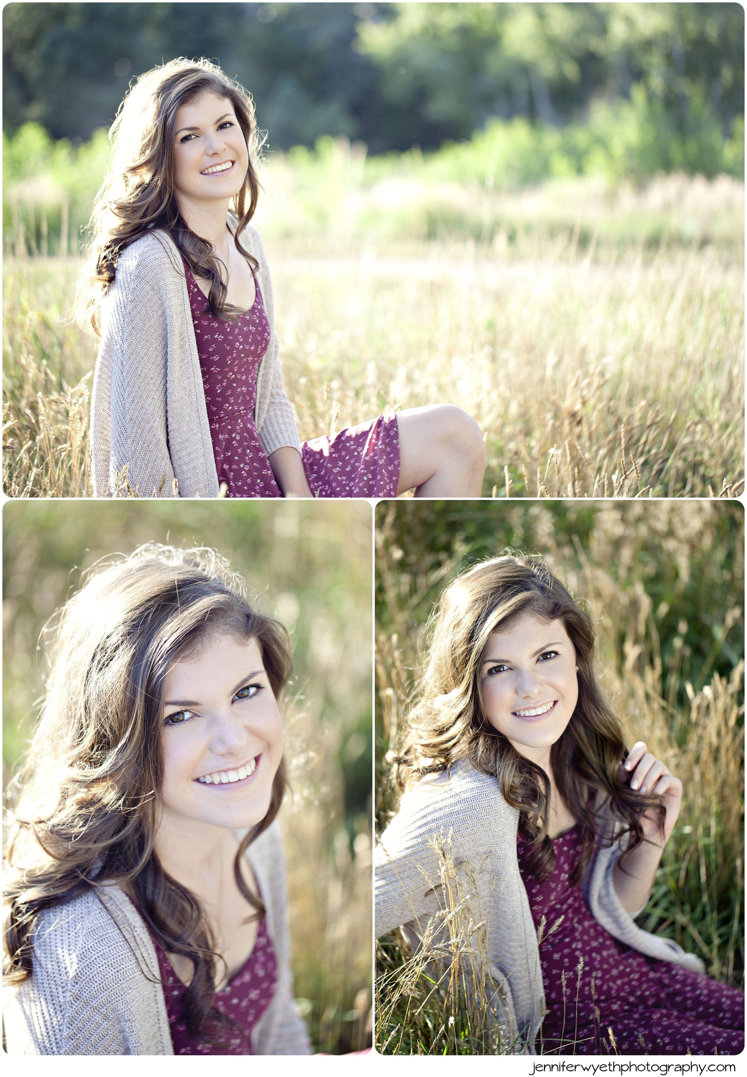 Wheat frames the dark locks of hair on gorgeous teen girl