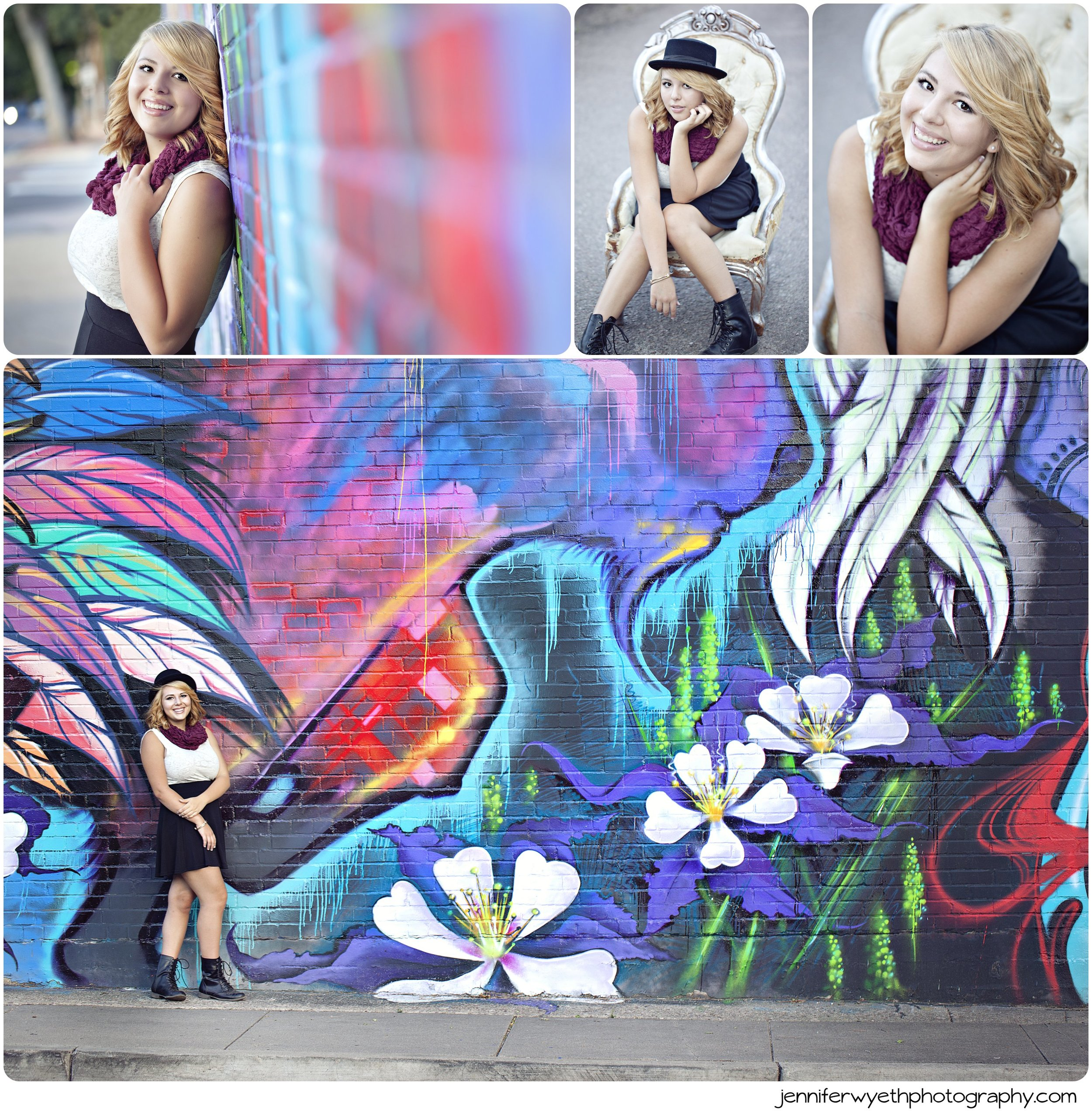 an antique chair in an old alley and graffiti wall work for senior pictures