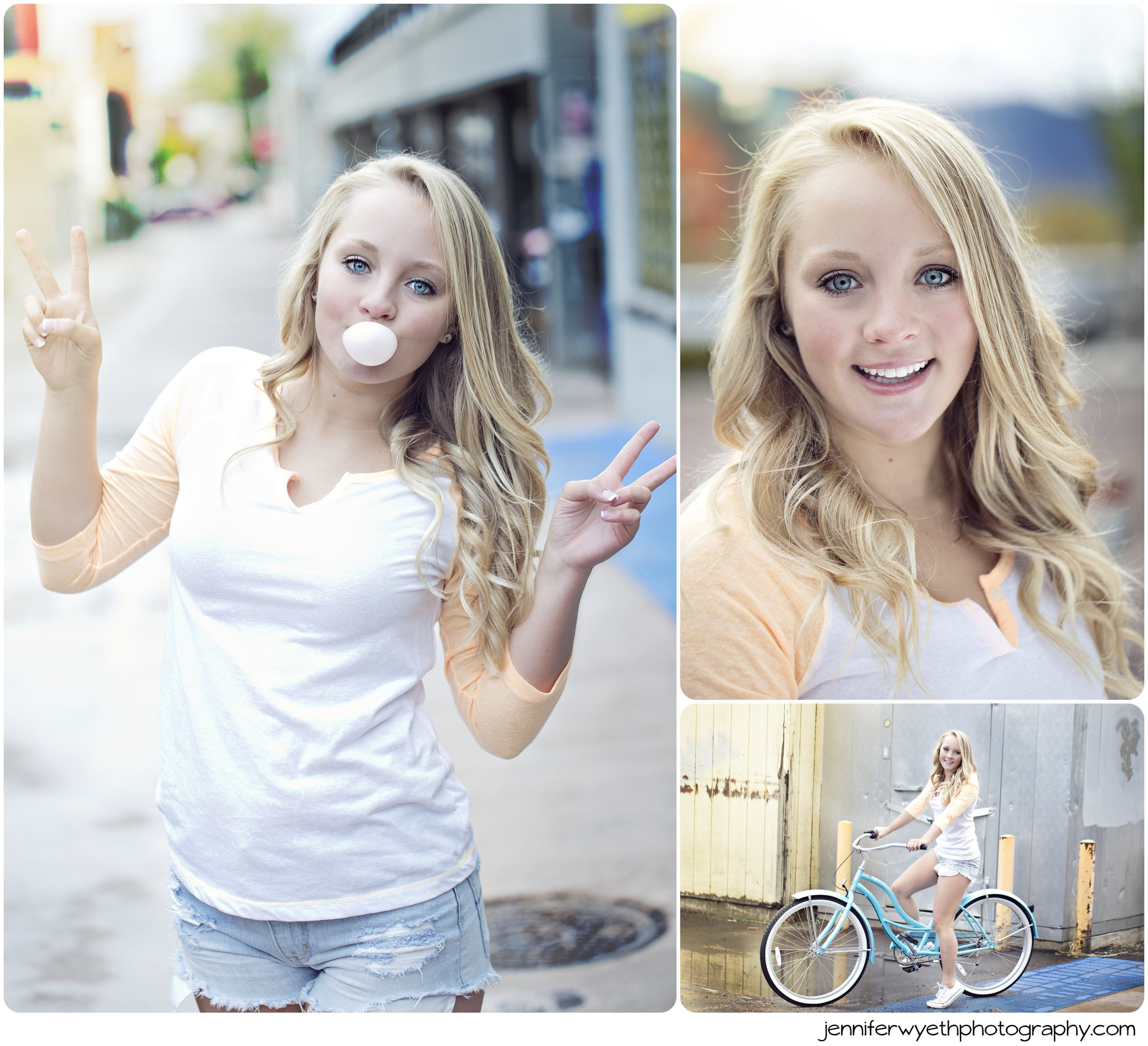 senior girl has fun on photoshoot with a beach cruiser and gum