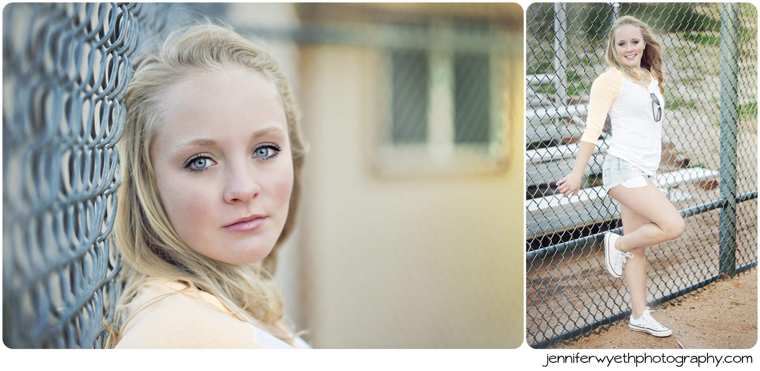 beautiful girl leans against chain link fence and poses for picture
