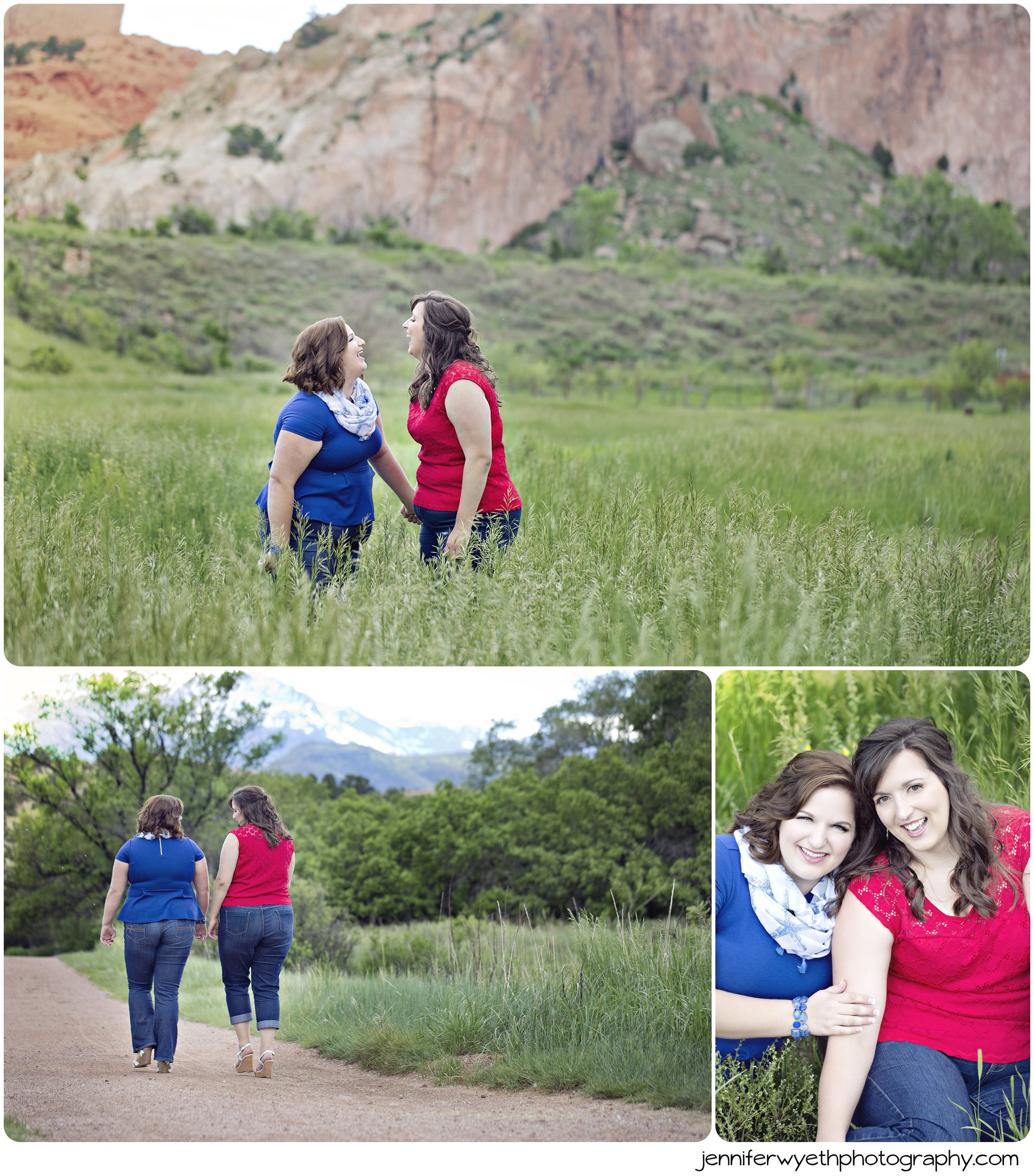 Beautiful sisters giggle in the tall grasses overlooking Garden of the Gods