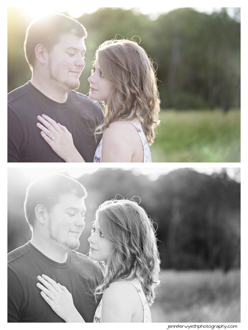 beautiful golden light frames a couple while they cuddle up to each other