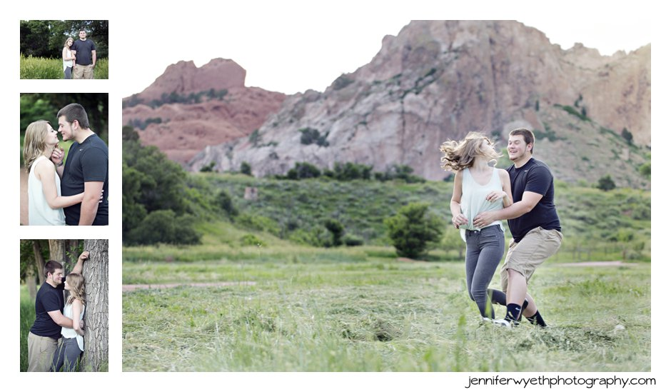 lovers play chase with Garden of the Gods as a backdrop