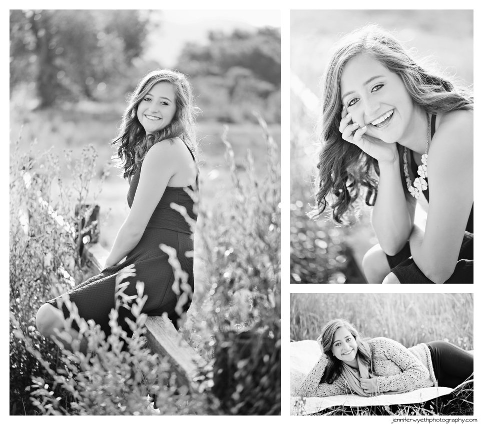 Sweet girl sits on a fence and lays on a blanket in these black and white conversions