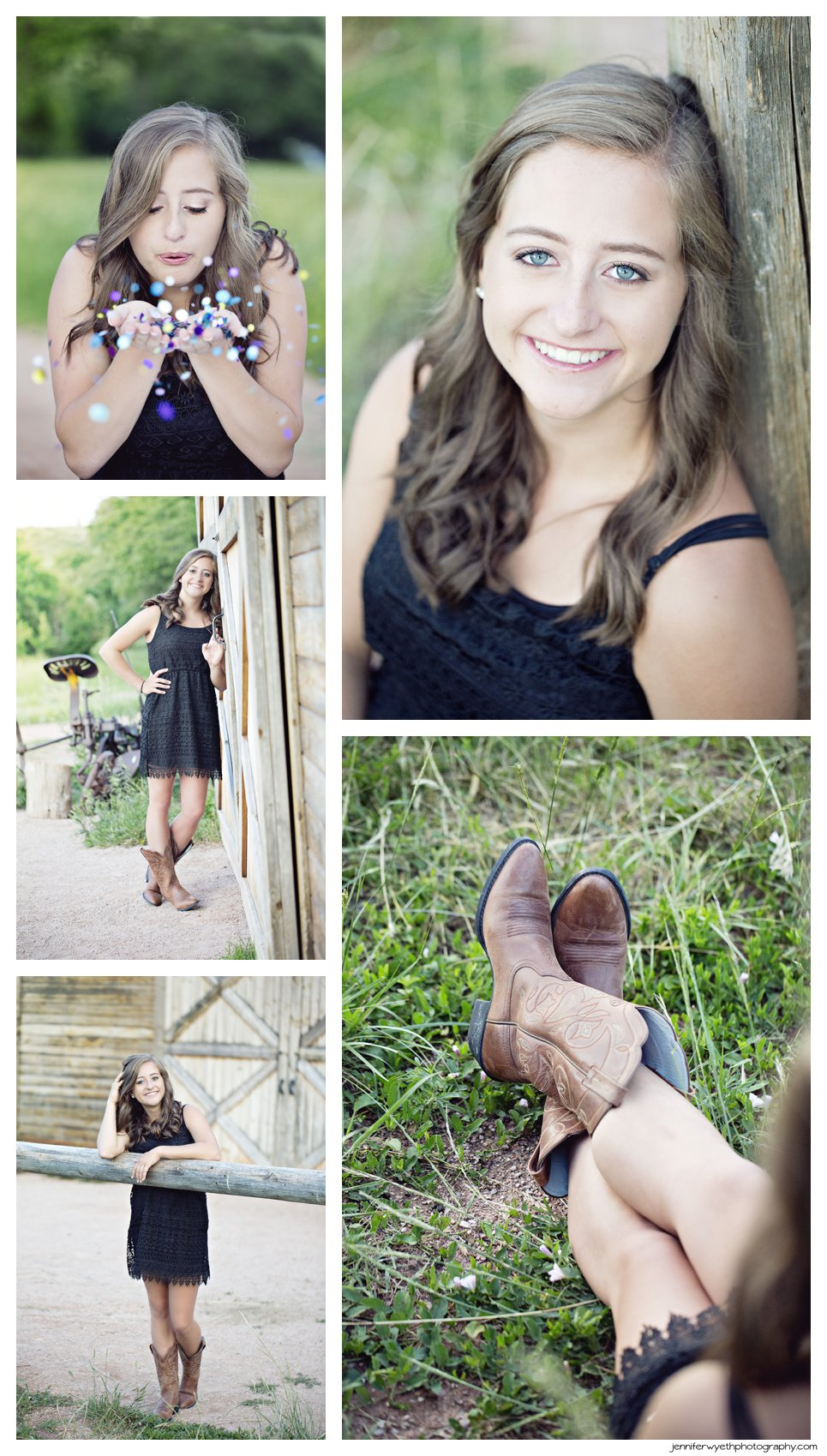 Posing with a barn in cowboy boots and a little black dress this teen girl smiles for the camera