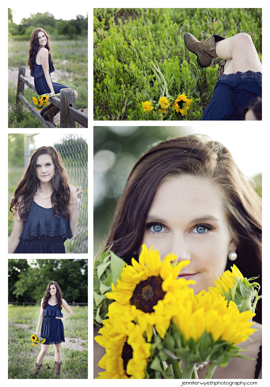 using sunflowers as a prop a beautiful girl smiles in a blue dress