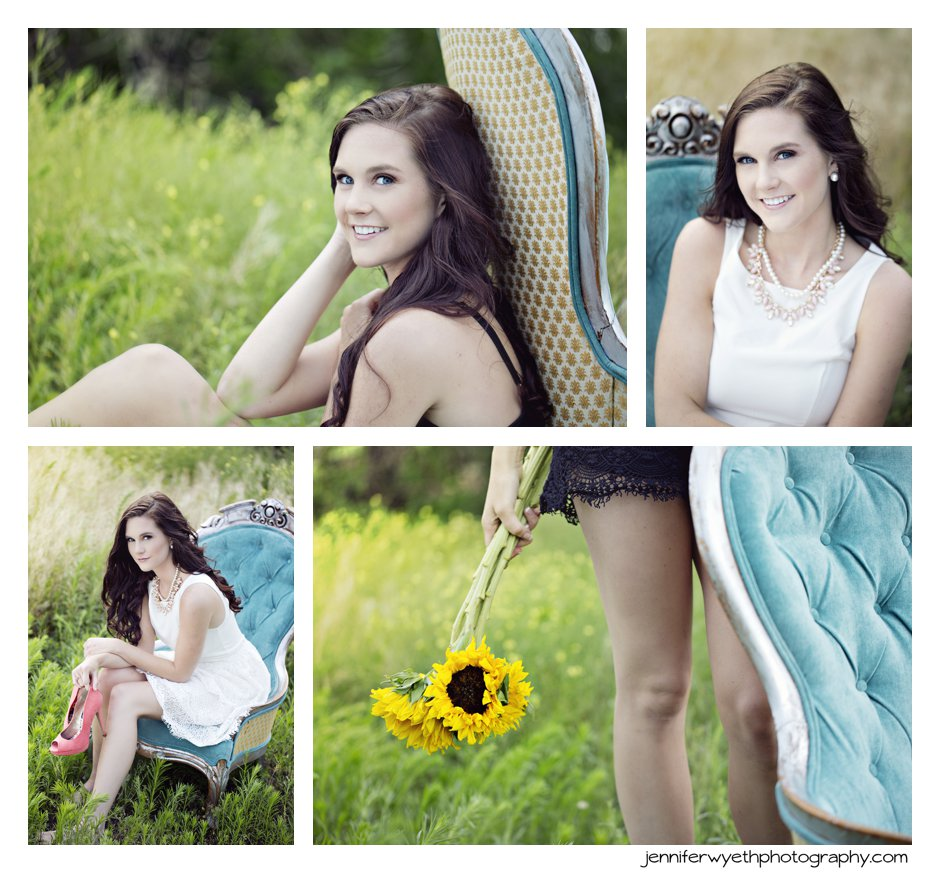 pretty girl sits on chair with sunflowers as an accent in senior pictures