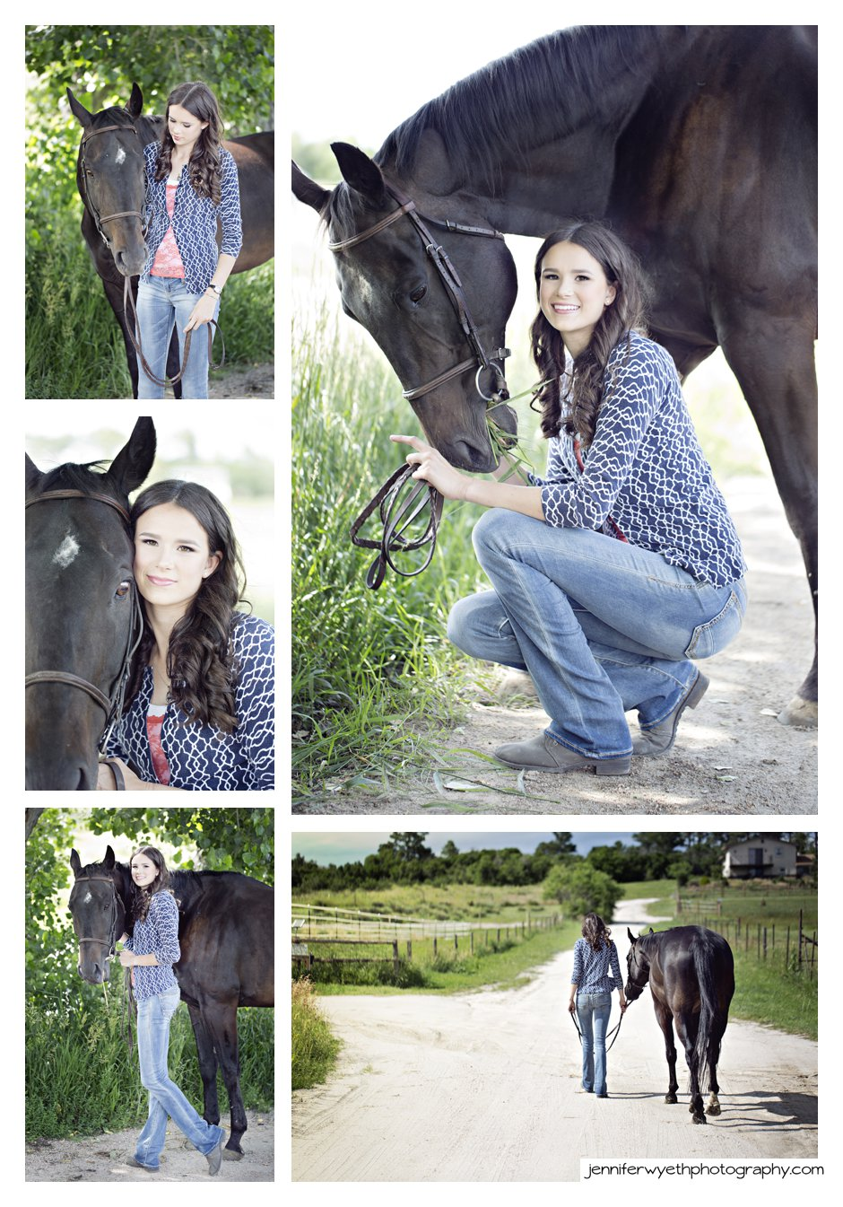 high school girl poses with her horse for her senior pictures