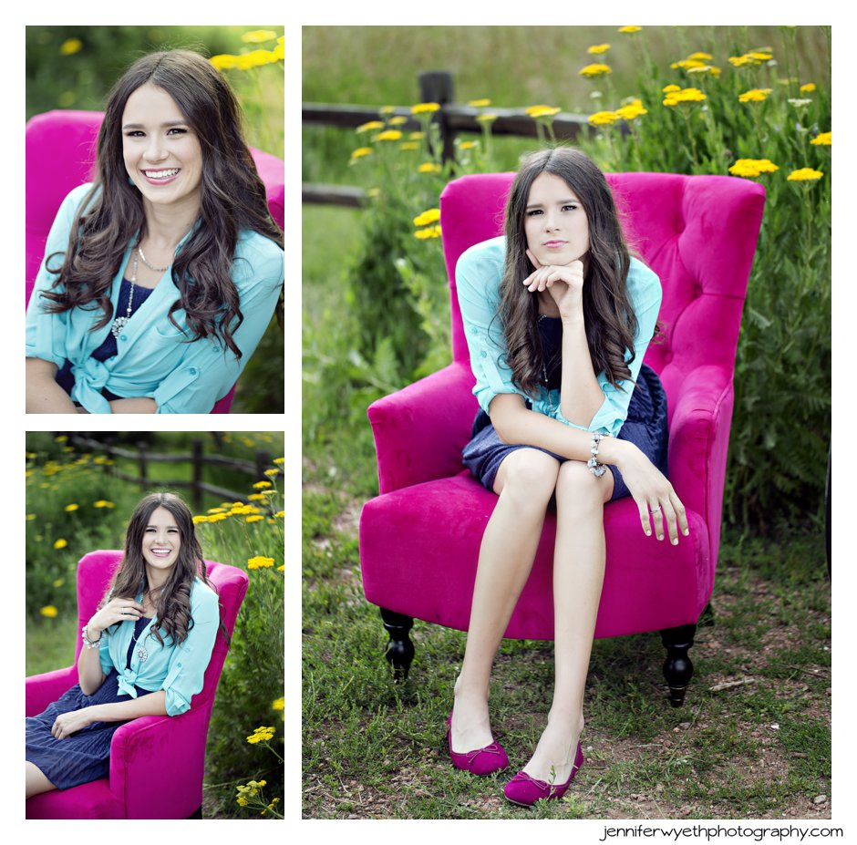 teen girl sits in fuchsia chair surrounded by bright yellow flowers