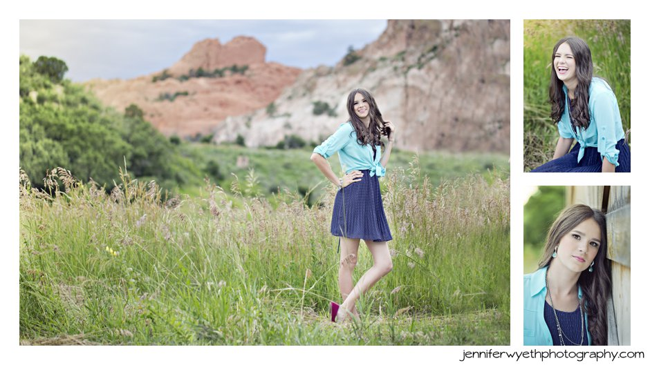 view of garden of the gods serves as a backdrop for senior pictures