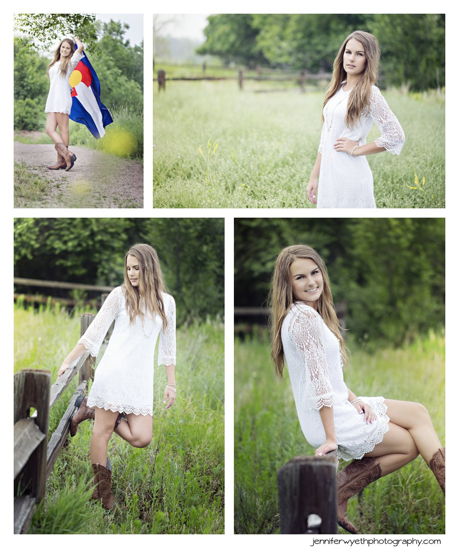 girl in white lace dress and cowboy boots waves Colorado state flag