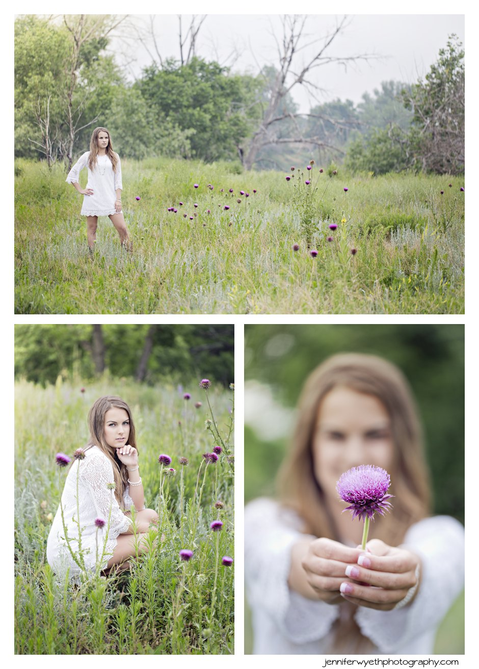 purple wild flowers accent a picture of girl in field