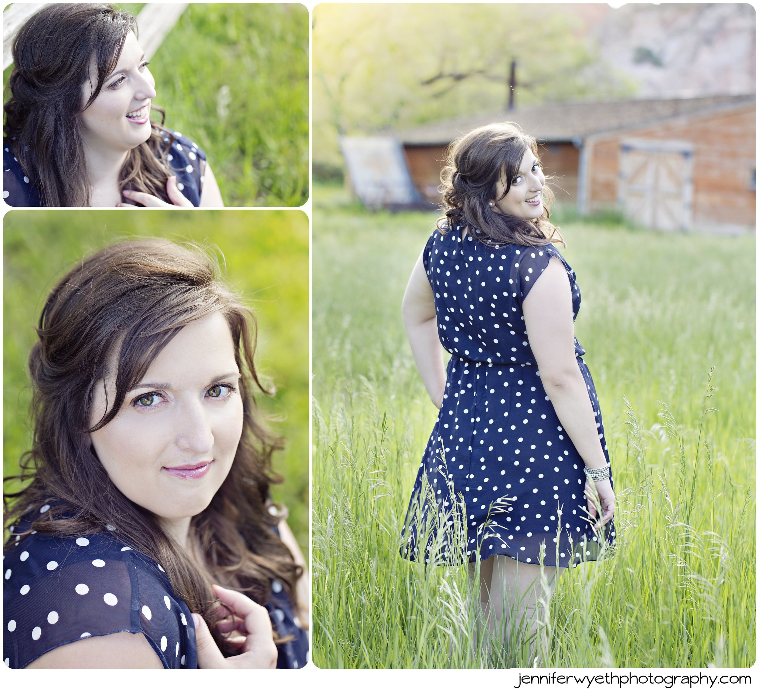 young woman acts flirty with the camera in a blue polka dot dress