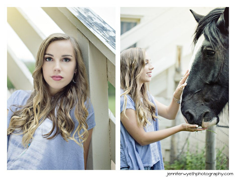 beautiful girl pets a friendly horse while feeding him grass