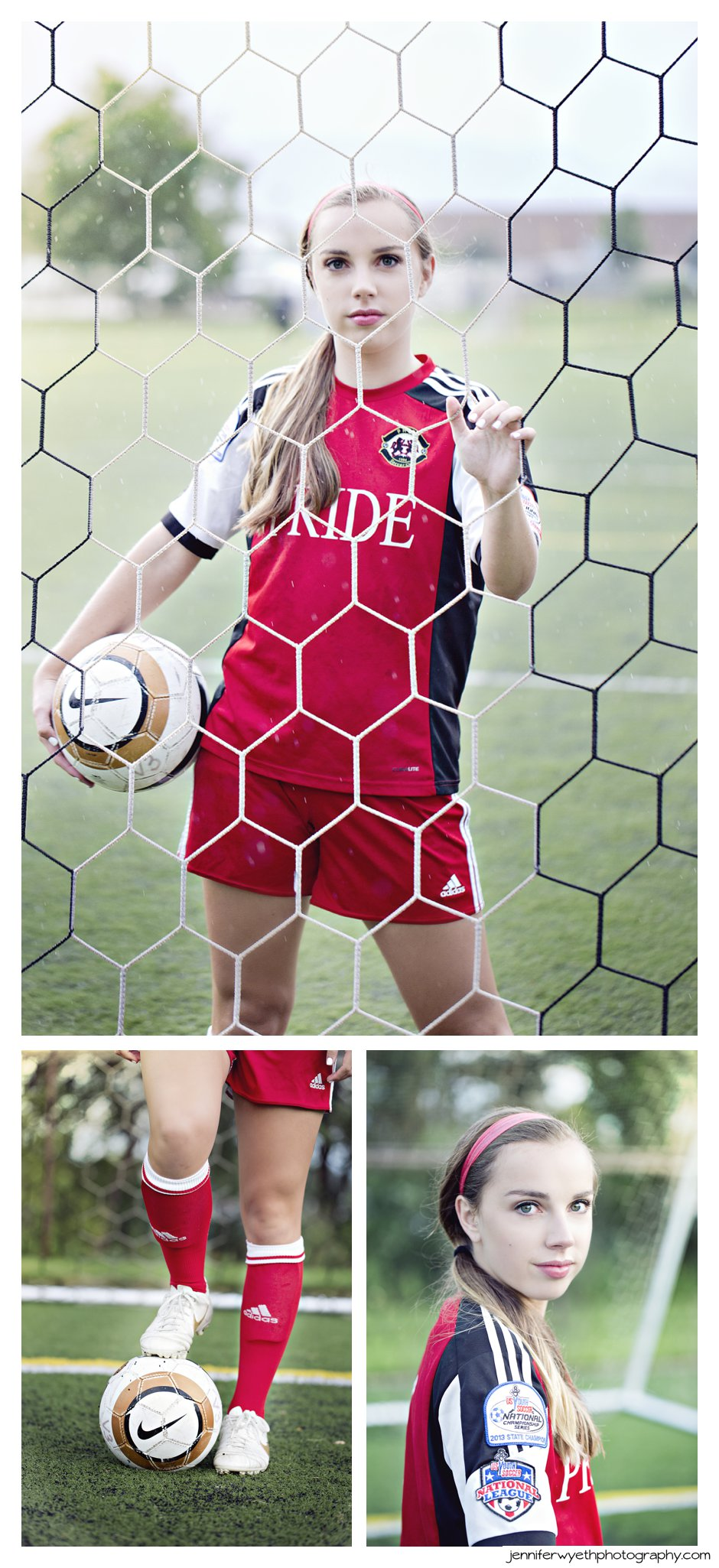 Pride soccer player looks tough as she poses in her uniform and with her soccer ball by the goal