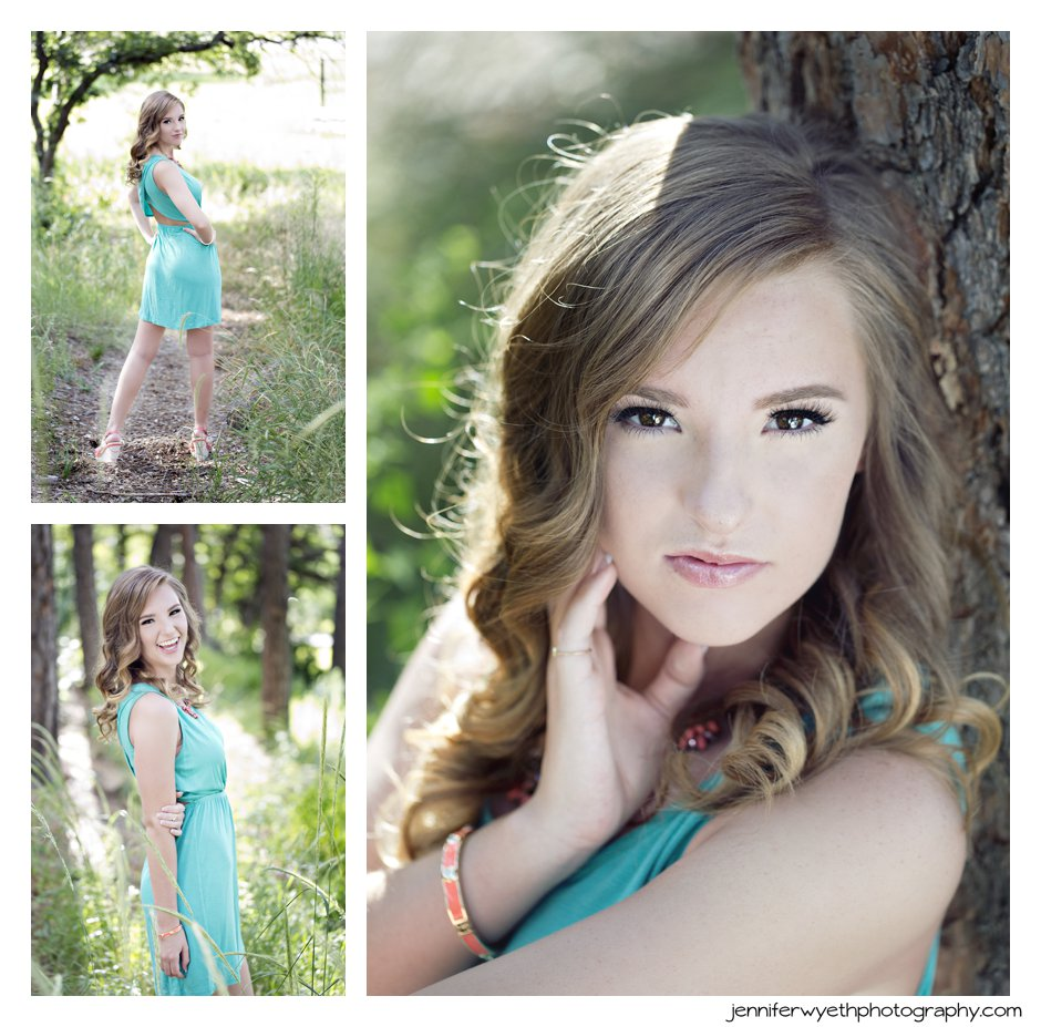 a cute aqua sundress adds a punch of color to a nature setting