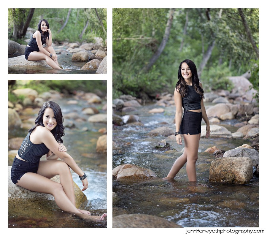 beautiful girl stands with feet in the water in back summer outfit