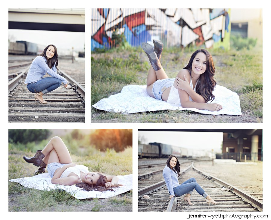 using railroad tracks as leading lines for senior picture poses