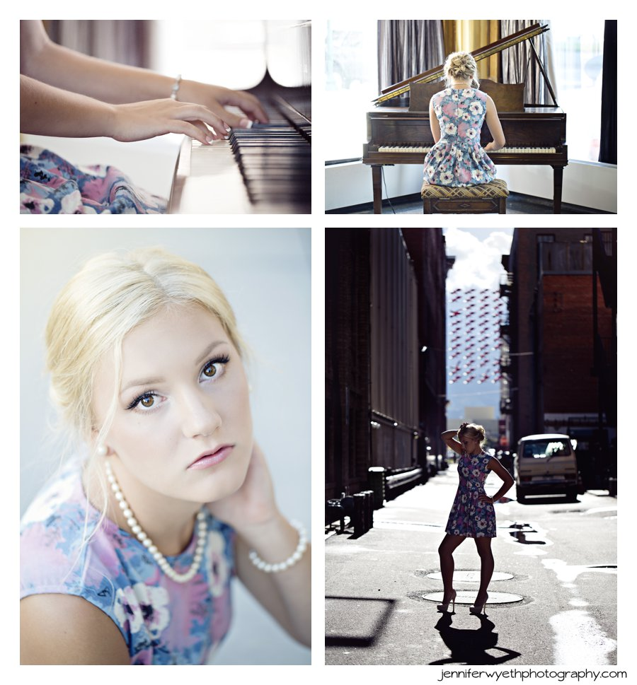 Stunning blonde plays the piano and walks the city streets