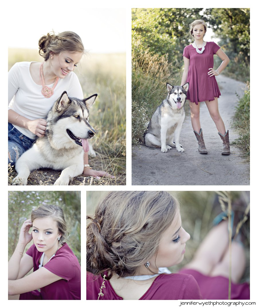 senior girl brings dog along to her photoshoot