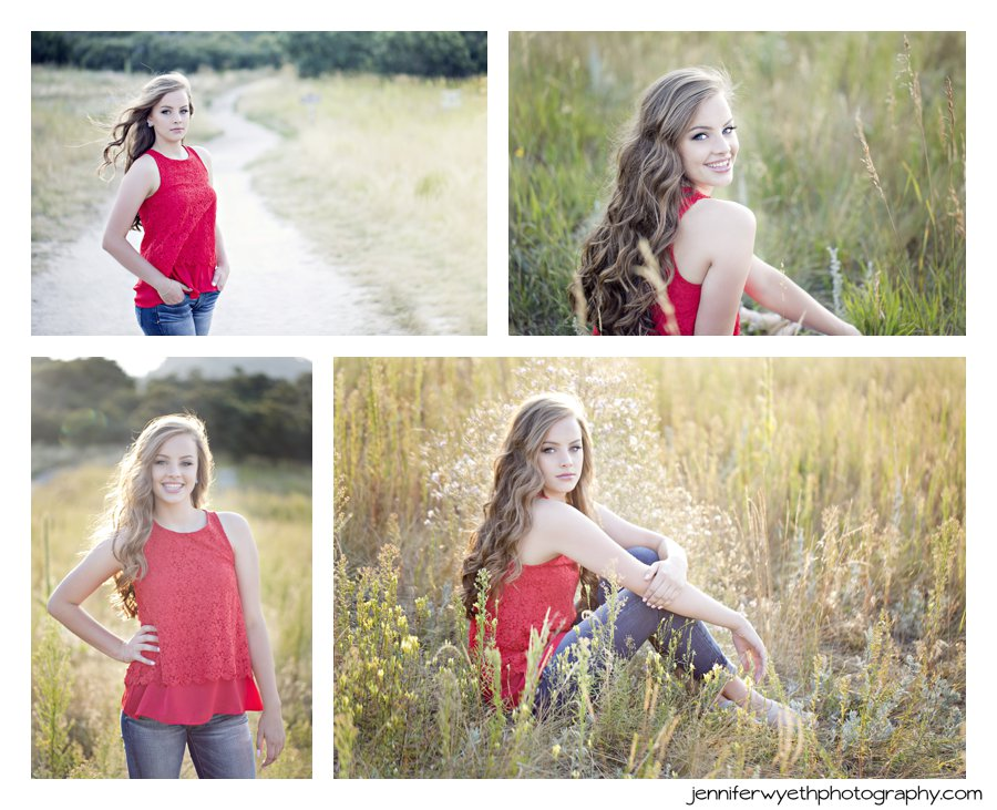 a simple red top with texture adds a pop of color to senior pictures