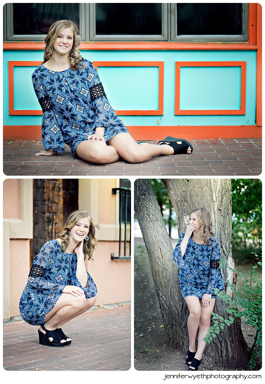 blue patterned dress shows off beautiful high school girls toned legs and brings a great texture