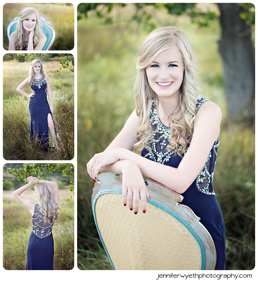 navy blue formal and diamond detail brings a formal look to this senior picture