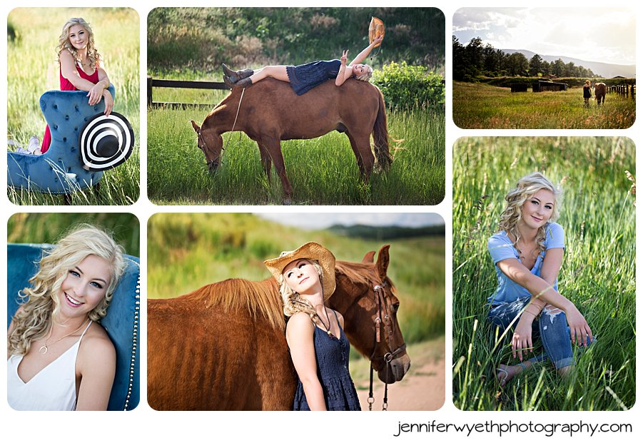 Senior girl poses with horse at a horse ranch for her senior pictures