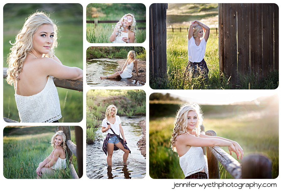 Beautiful teen poses in the water and in a field for her senior pictures