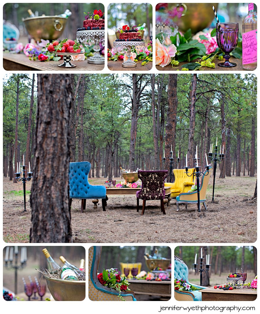 a forest photoshoot shows off chairs, a coffee table, candles, cake, and more